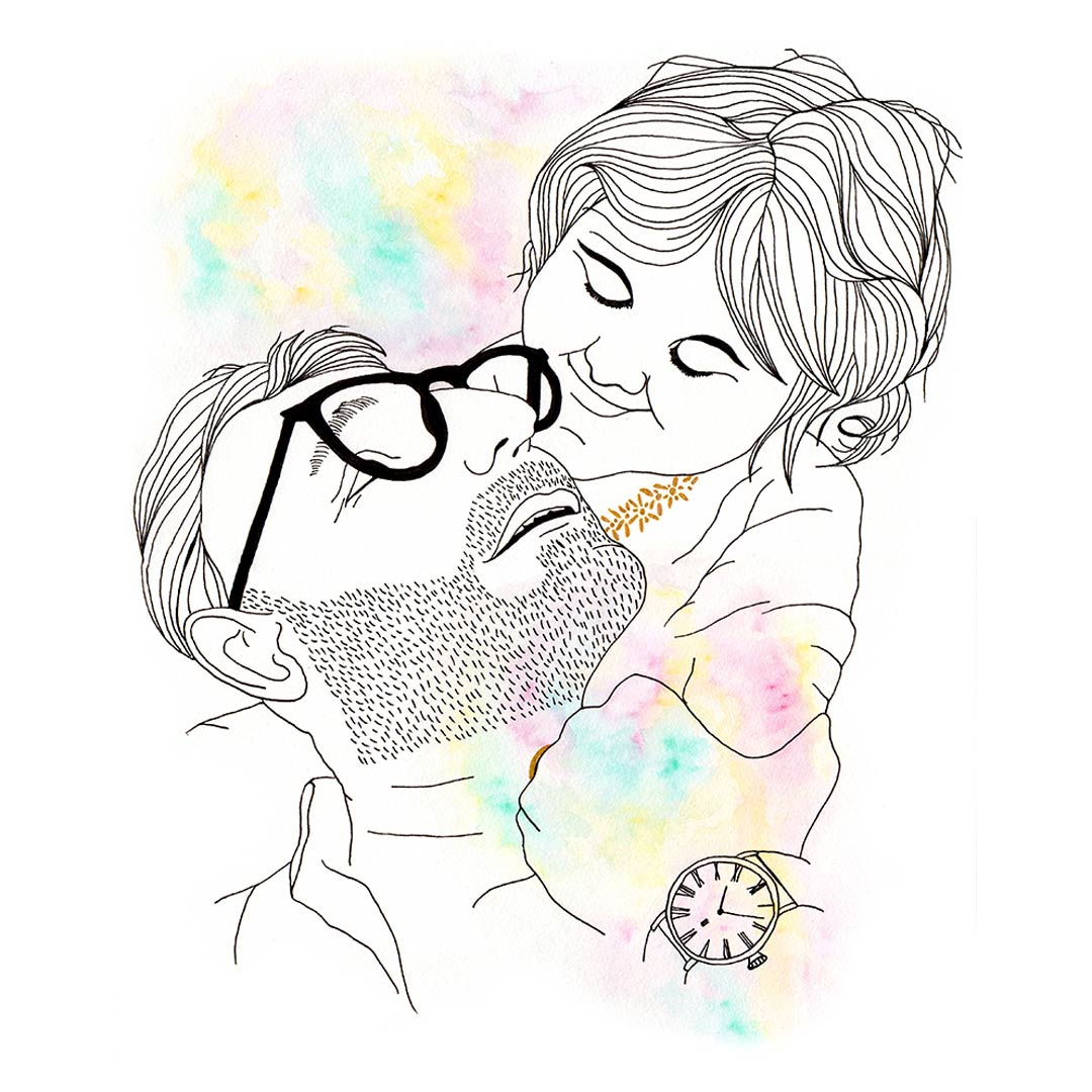 Dessin encre de chine et aquarelle minimaliste père et fille
