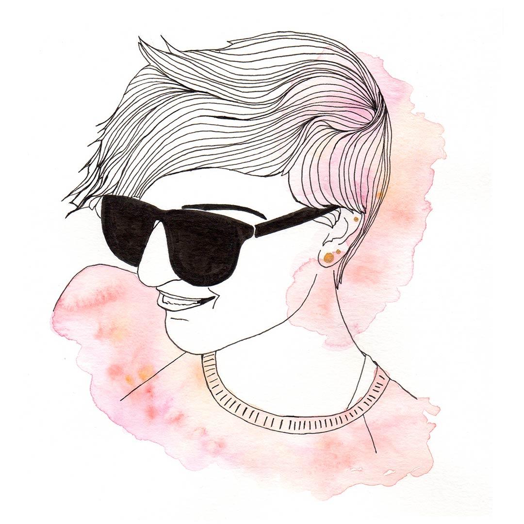 Dessin encre de chine et aquarelle minimaliste tomboy