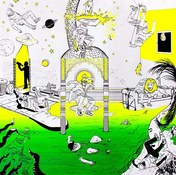 Sérigraphie verte et jaune composée de 9 minis-scènes
