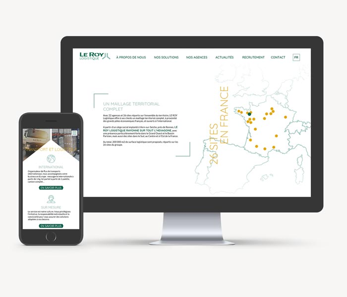 Mise en situation site internet de Le Roy Logistique