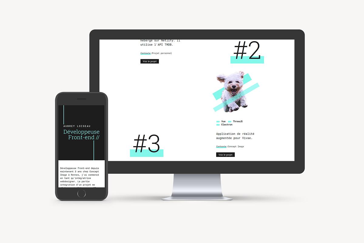 Mockup portfolio Audrey Loiseau développeuse web